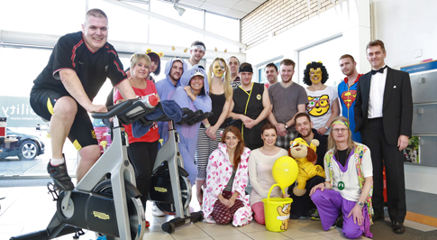 Parts Manager in spinathon fundraiser for Children in Need