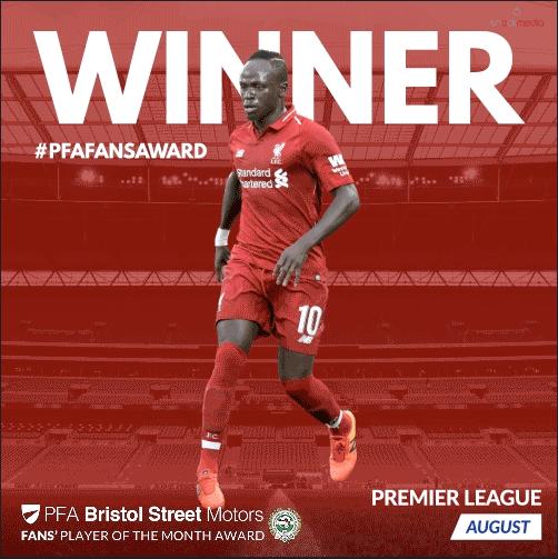 Premier League PFA Bristol Street Motors Fan's Player of the Month for August