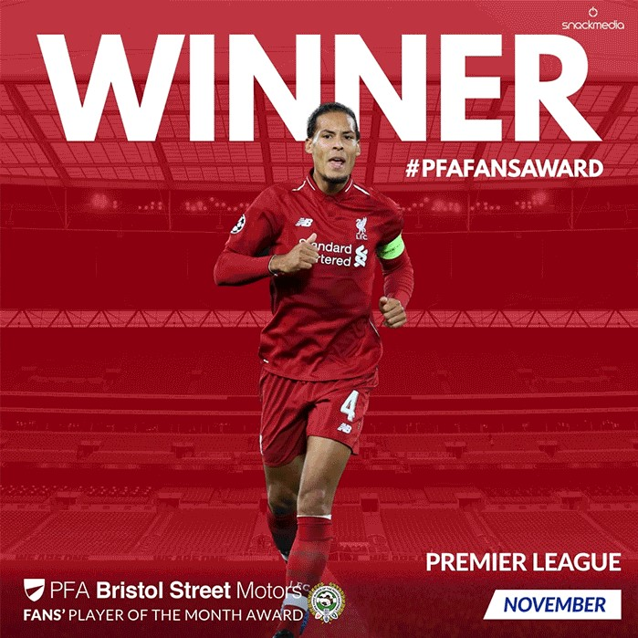 Premier League PFA Bristol Street Motors Fan's Player of the Month for November