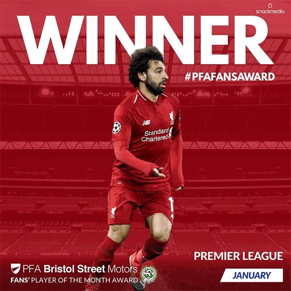 Liverpool's Salah Wins PFA Bristol Street Motors Fans' Player of the Month