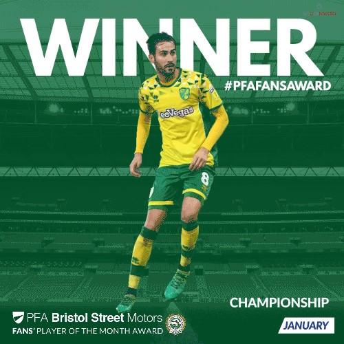 Norwich City's Vrancic Wins PFA Bristol Street Motors Fans Player of the Month