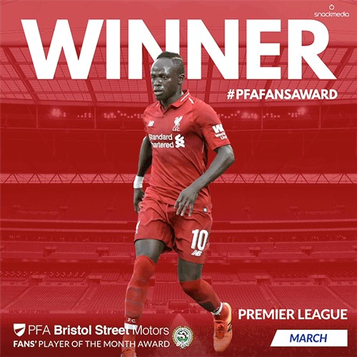 Liverpool's Sadio Mane Wins Premier League PFA BSM Fans' Player of the Month