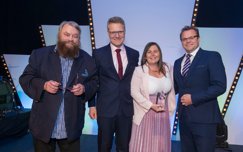Brian Blessed Presents Award To Carlisle Sales Executive