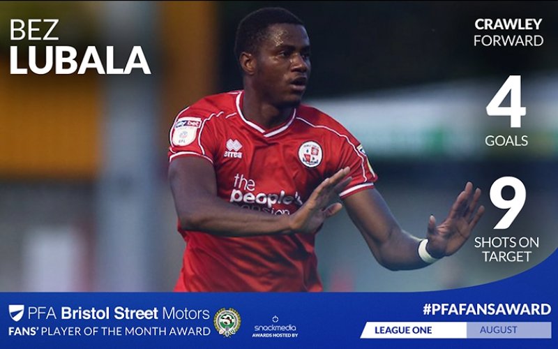 Crawley Town's Bez Lubala Wins League Two Player of the Month for Aug