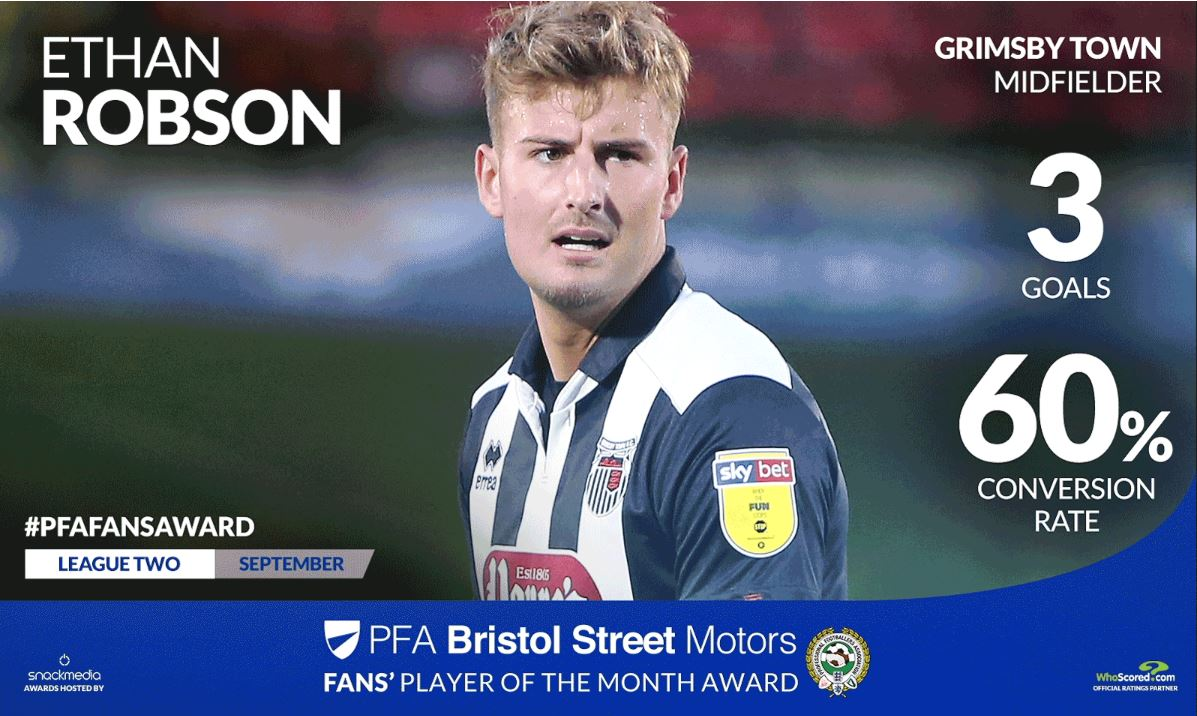 Grimsby Town's Ethan Robson Win's League Two Fan's Player Award