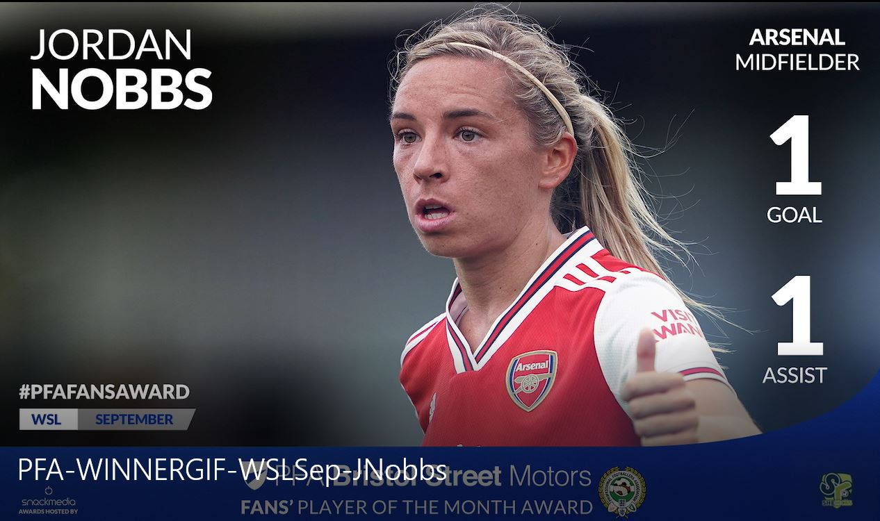 Arsenal Women's Jordan Nobbs Wins WSL PFA Fan's Player of the Month Award
