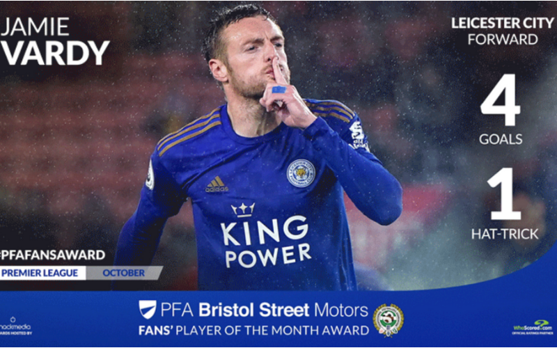 Leicester City's Jamie Vardy Wins Premier League Fans' Player Of The Month Award