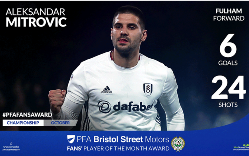 Fulham's Aleksandar Mitrovic Wins Championship Fans' Player Of The Month Award