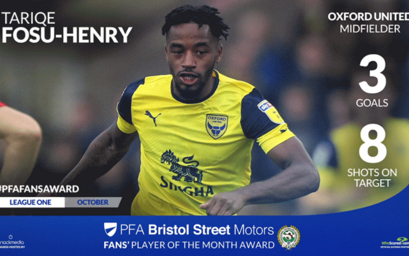 Oxford United's Fosu-Henry Wins League One Fans' Player Of The Month Award