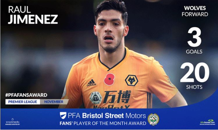 Wolves' Raul Jimenez wins PFA Bristol Street Motors Fan's Player of the month