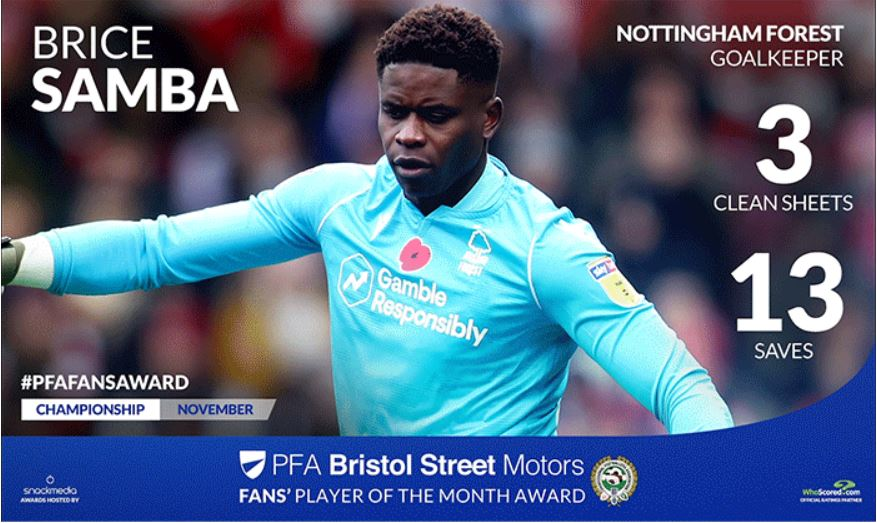 Brice Samba Wins Championship PFA Bristol Street Motors Fan's Player Award