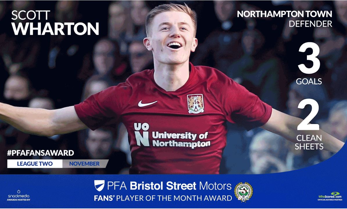Northampton's Scott Wharton wins PFA Bristol Street Motors Fans Player Award