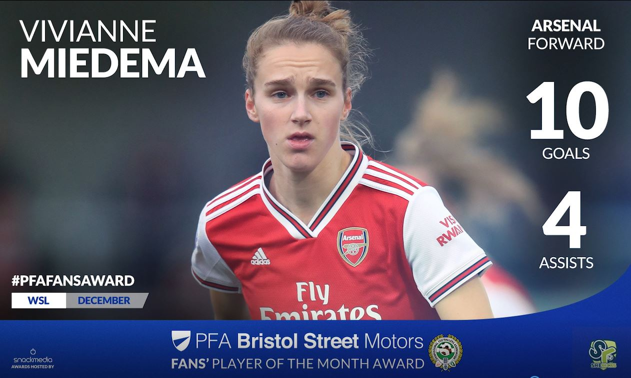 Arsenal Women's Vivianne Miedema Wins Fans' Player of the Month Award