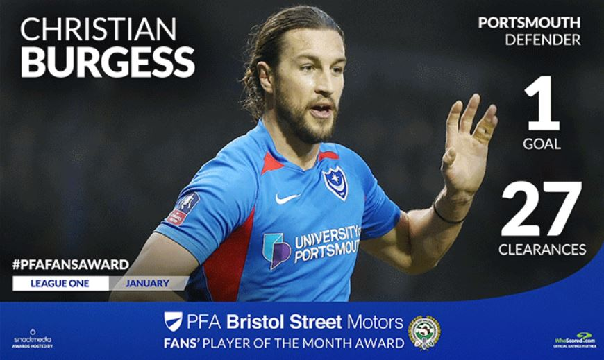 Pompey's Christian Burgess Wins PFA Bristol Street Motors Fans' Player Award