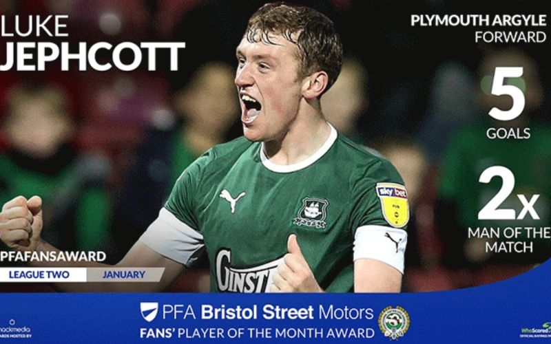 Luke Jephcott Wins PFA Bristol Street Motors Fans' Player Of The Month Award