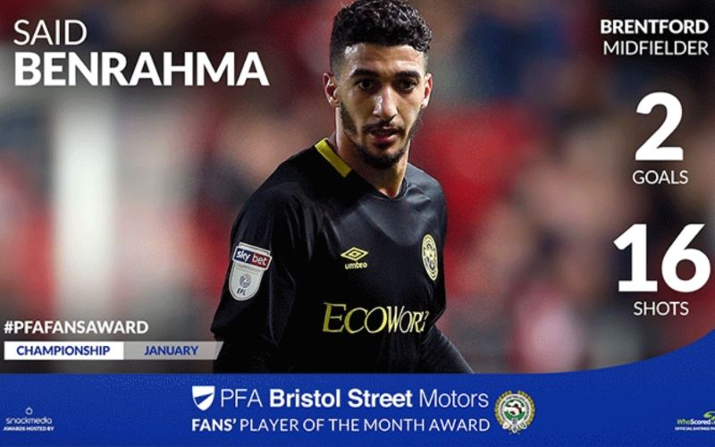 Said Benrahma Wins PFA Bristol Street Motors Fans' Player Of The Month Award