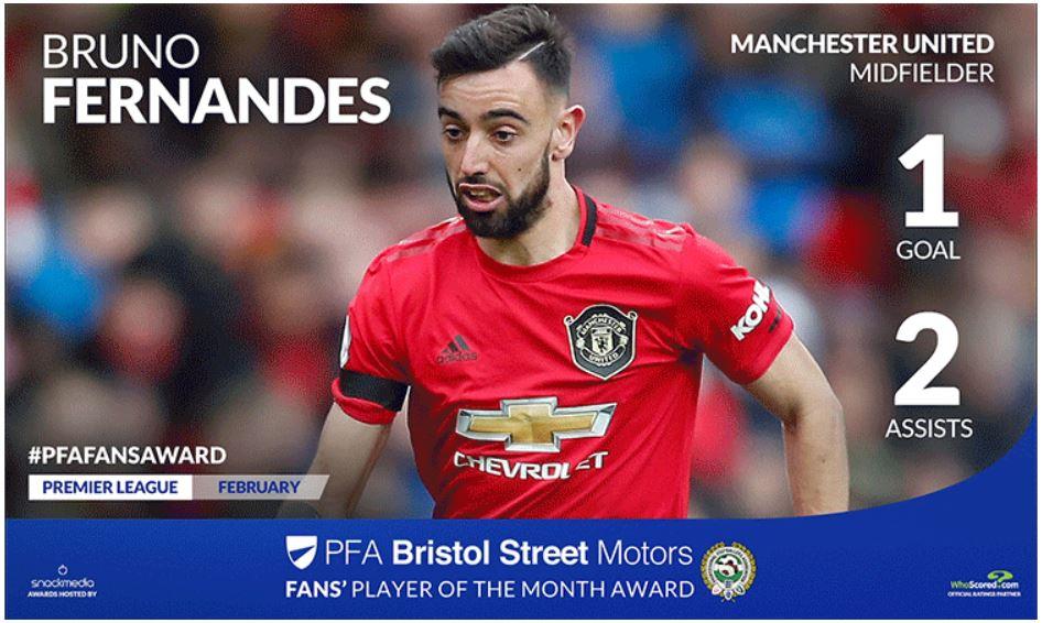 Manchester United's Bruno Fernandes Wins PFA Bristol Street Fans' Player Award