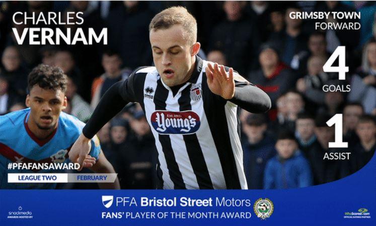 Grimsby's Charles Vernam Wins PFA Bristol Street Motors Fans' Player Award