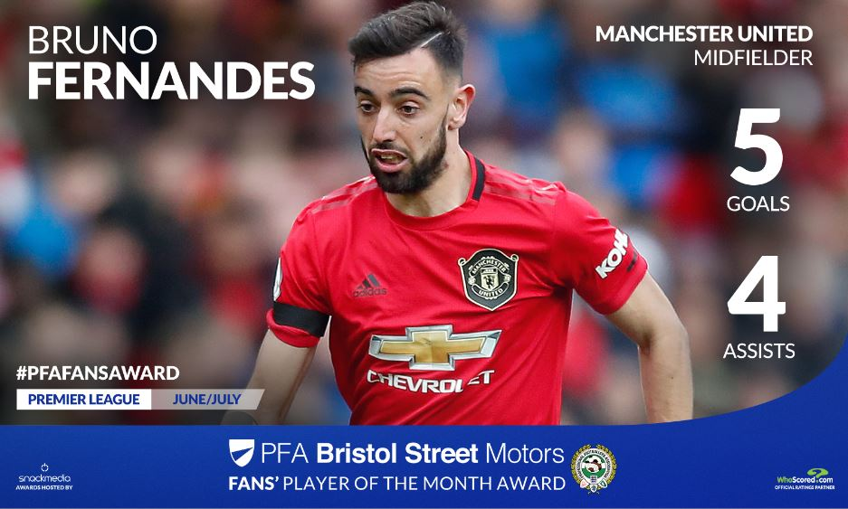 Manchester United's Bruno Fernandez Wins PFA Bristol Street Motors