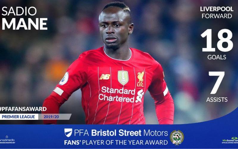 Liverpool's Sadio Mane Wins PFA Bristol Street Motors Fans' Player Award