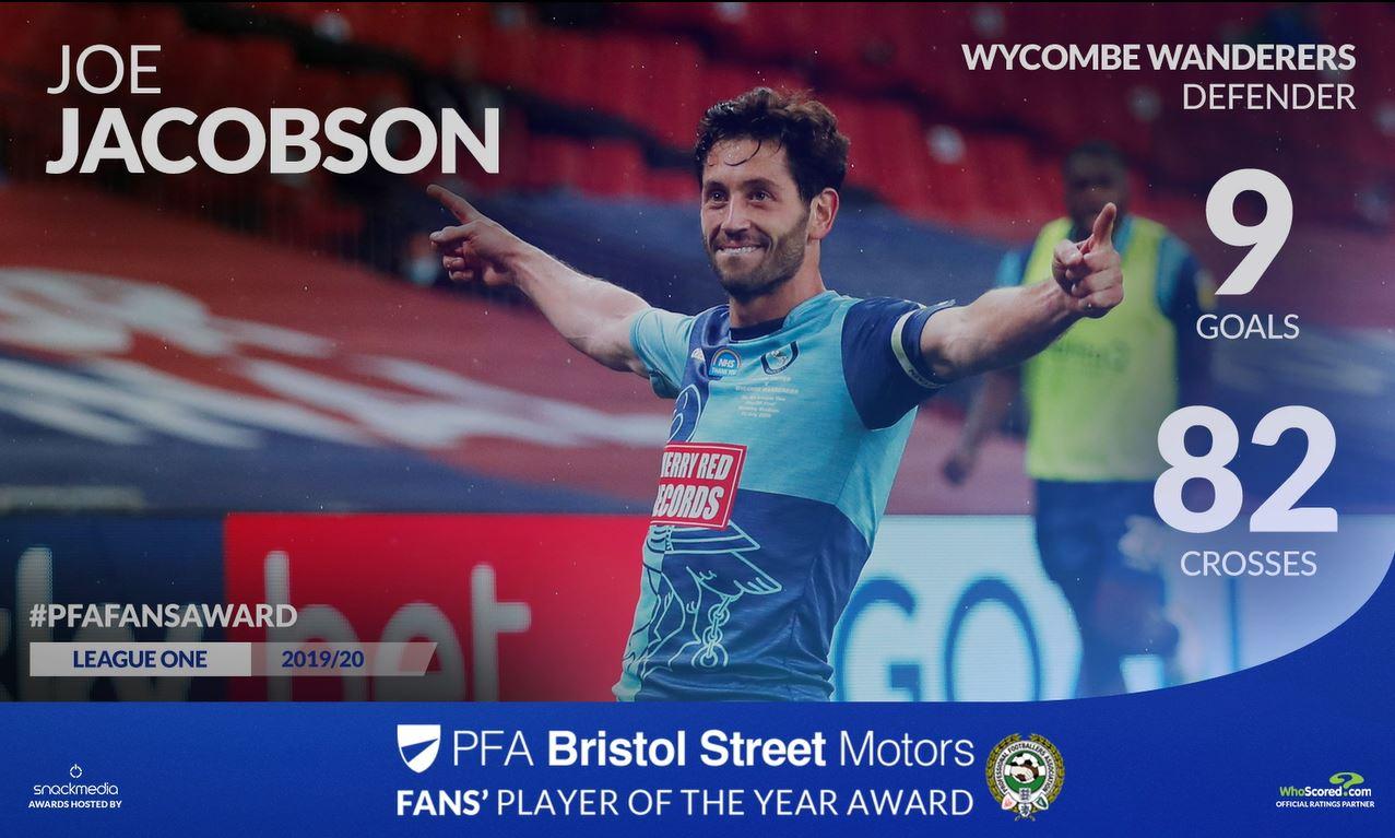 Wycombe's Joe Jacobson Wins PFA Bristol Street Motors Fans' Player Award