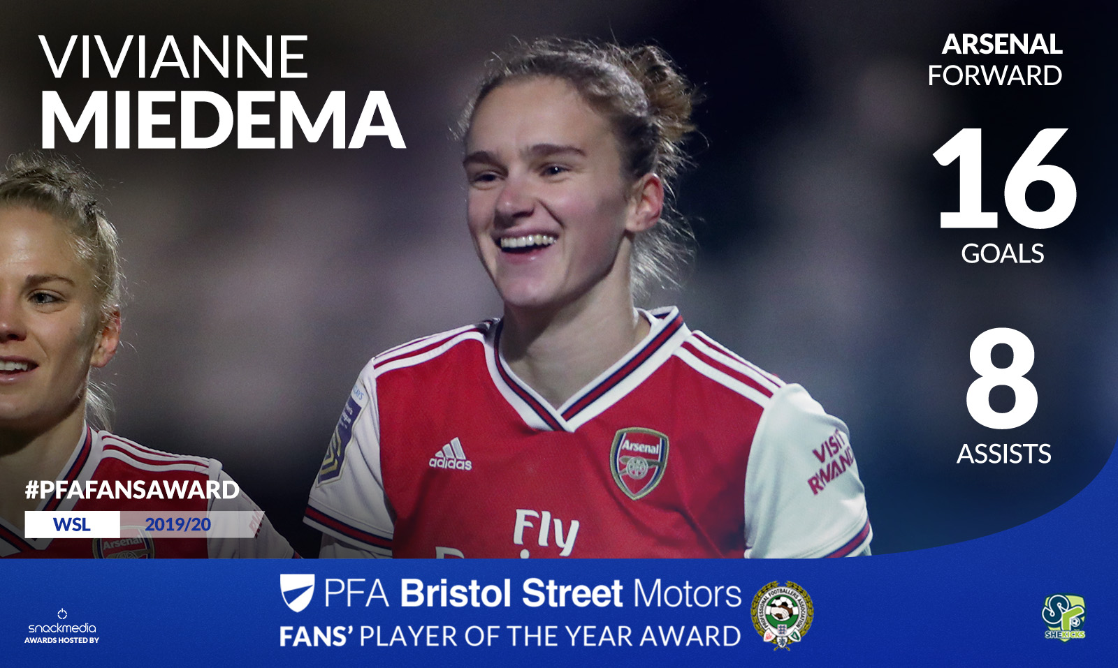 Arsenal's Vivianne Miedema Wins PFA Bristol Street Motors Fans' Player Award