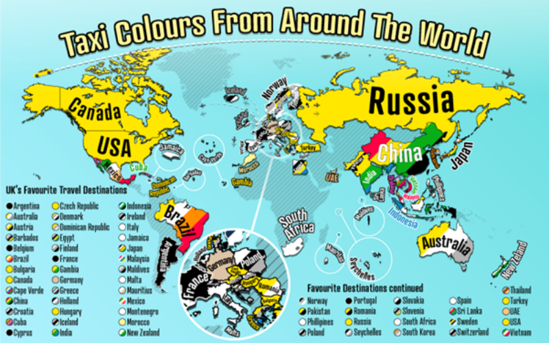 Taxi Colours From Around The World