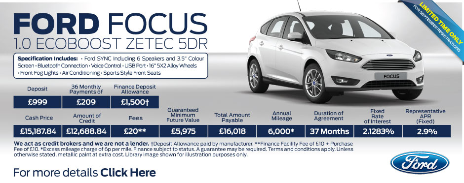 Ford Focus 1.0 EcoBoost Zetec 5dr 100PS BB