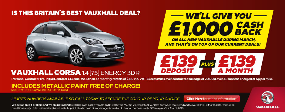 Vauxhall £1000 Cash Back BB