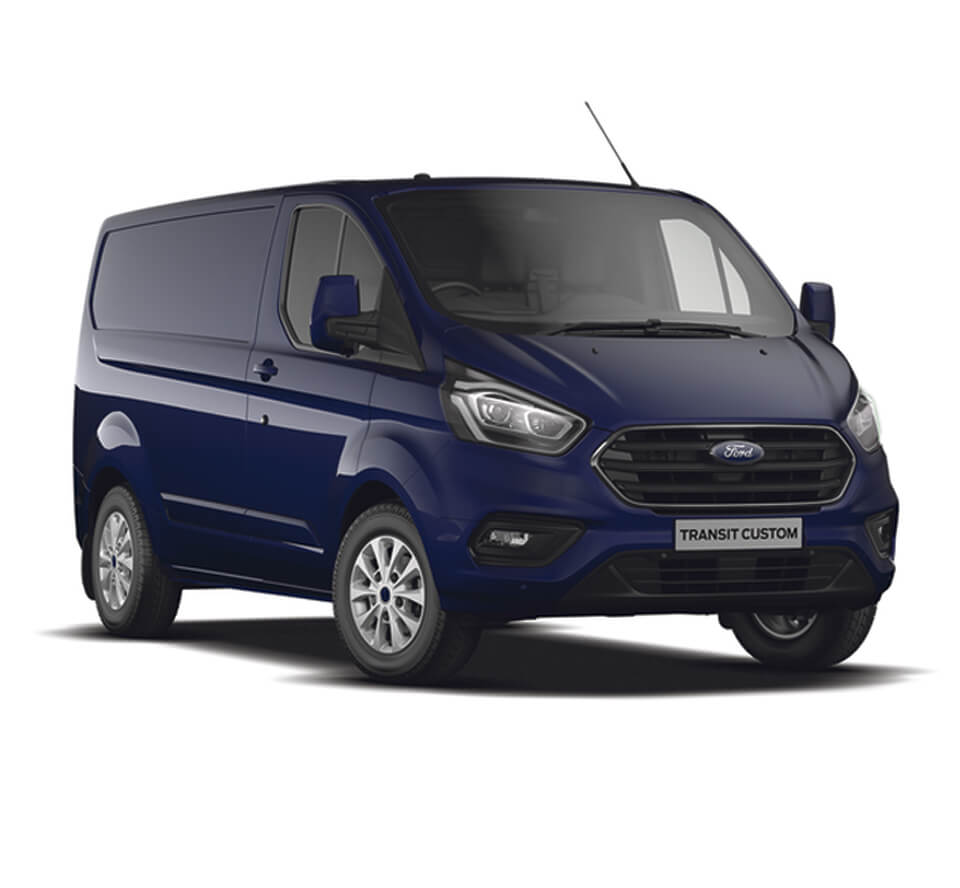 Blue Ford Transit Custom