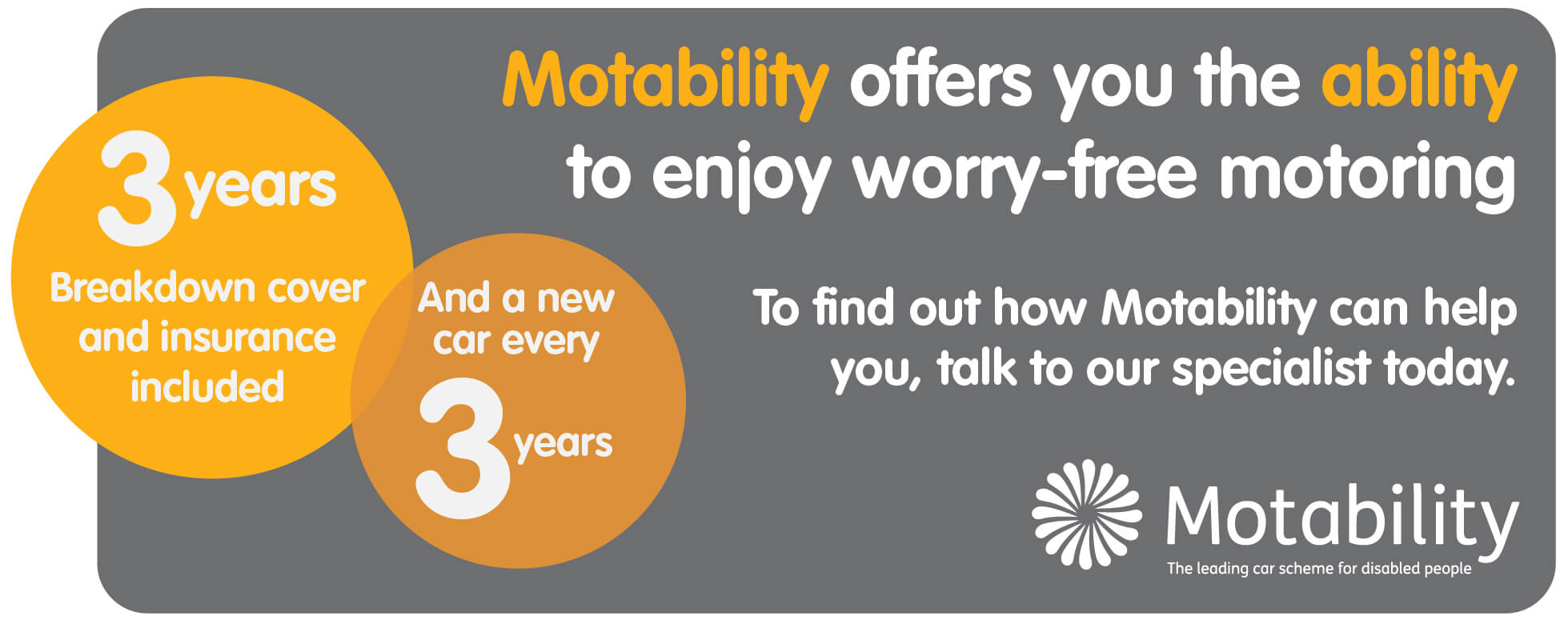 Motability Banner - 3 Years