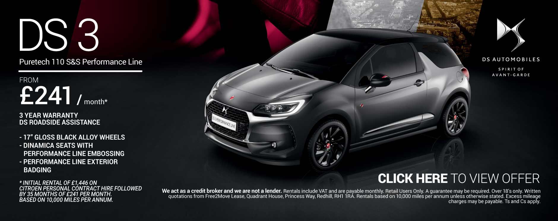 ds 3 performance black deals new ds 3 performance black cars for sale bristol street. Black Bedroom Furniture Sets. Home Design Ideas
