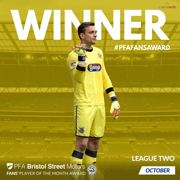 League 2 PFA Bristol Street Motors Fan's Player of the Month for October