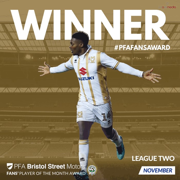 League 2 PFA Bristol Street Motors Fan's Player of the Month for November