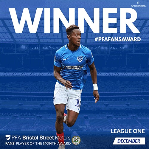 Portsmouth's Lowe wins PFA Bristol Street Motors Fans' Player of the Month