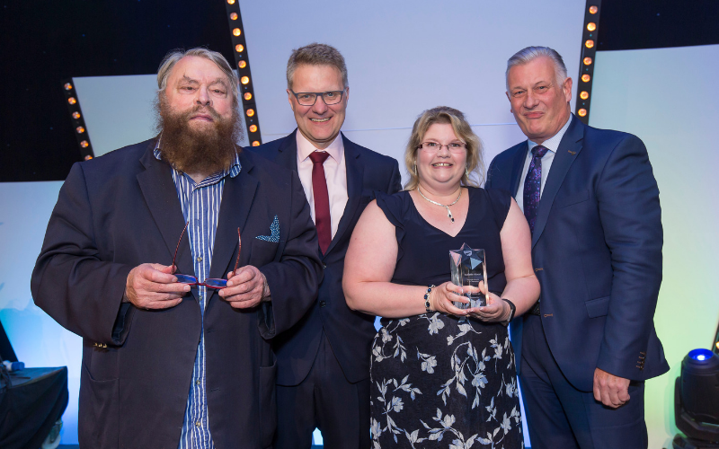 Actor Brian Blessed Presents Derby Service Advisor With National Award
