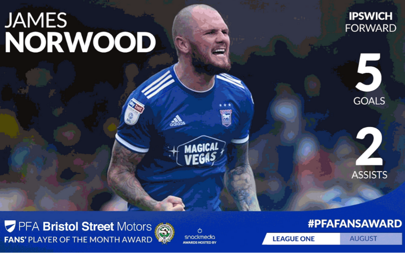 Ipswich Town's James Norwood Wins League One Fans' Player Of The Month Award