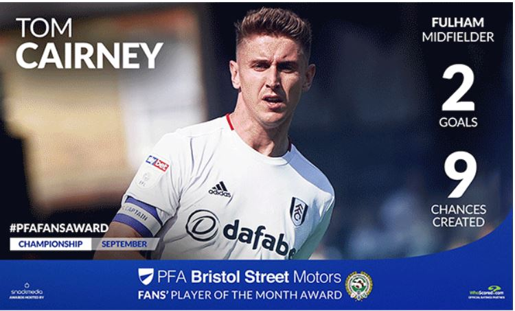 Fulham's Tom Cairney Wins PFA Bristol Street Motors Player of the Month Award