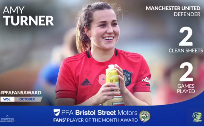 Manchester United�s Amy Turner Wins WSL Fans� Player Of The Month Award