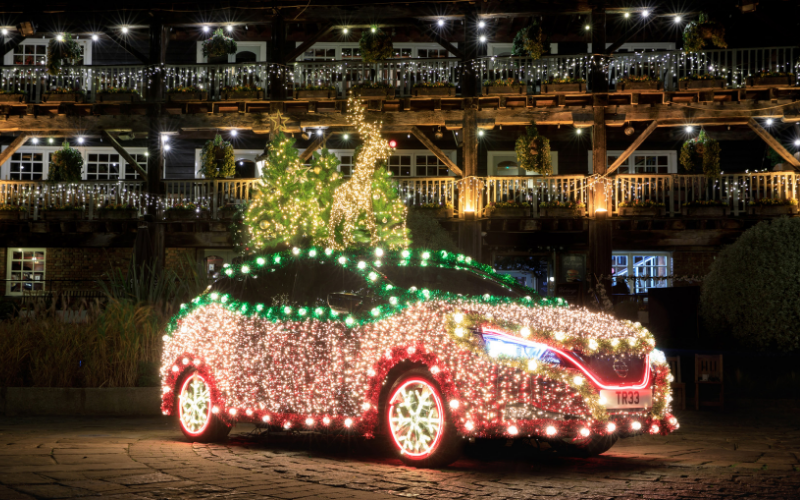 The Nissan Leaf Has Been Transformed Into A Christmas Tree
