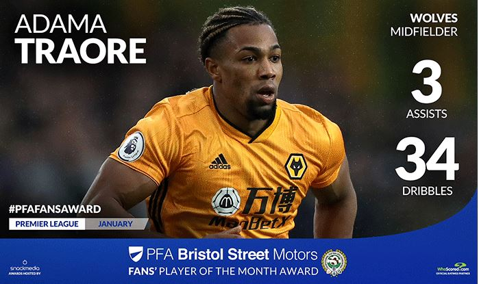 Wolves' Adama Traore Wins Bristol Street Motors Fans' Player of the Month Award