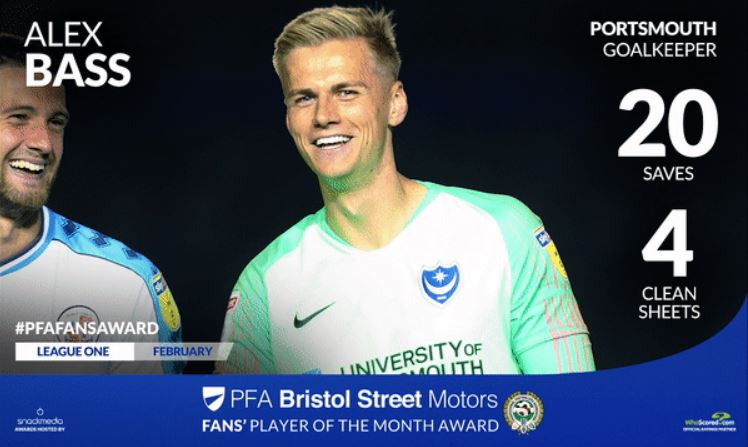 Portsmouth's Alex Bass Wins PFA Bristol Street Motors Fans' Player Award