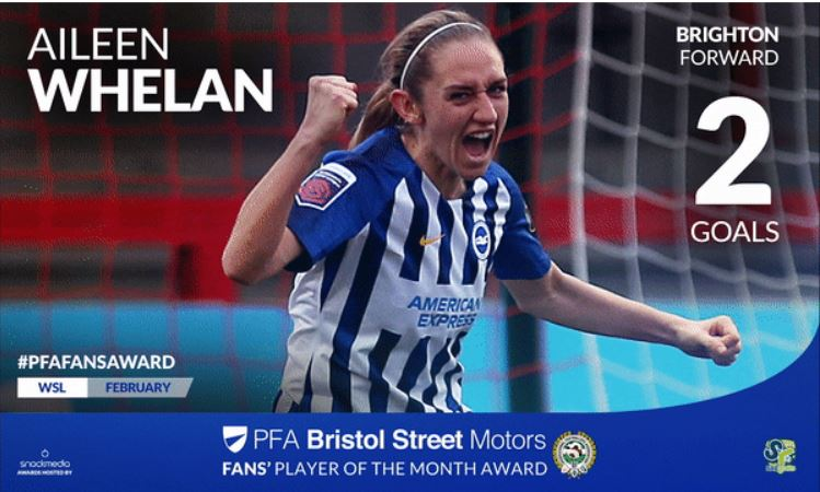 Brighton's Aileen Whelan Wins PFA Bristol Street Motors Fans' Player Award