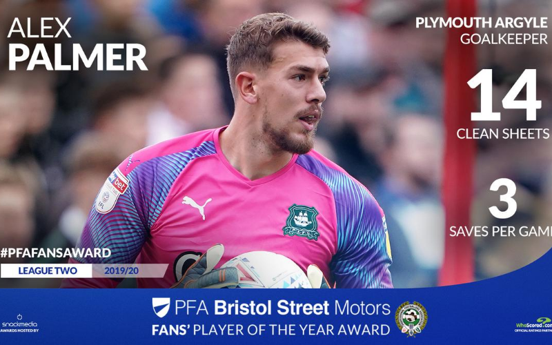 Plymouth Argyle's Alex Parmer Wins PFA Bristol Street Motors Fans' Player Award